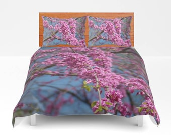 Redbud flowers and blue sky duvet cover, comforter, pillow shams, bedroom decor, country, rustic home decor, woodland. nature lover decor