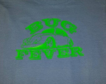 Youth VW Bug Fever T Shirt, Shown on a Light Blue T with Green design