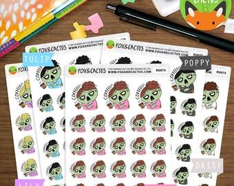 Zombie Coffee Kawaii Girls - Coffee Time Caffeine Tired Study - Planner Stickers (K0075)