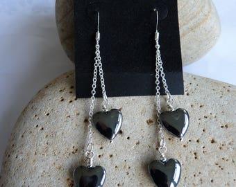 Double Hematite Heart Earrings 12mm Sterling Silver