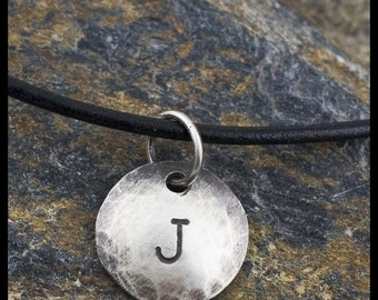 custom initial pendant necklace - sterling silver hand-hammered necklace