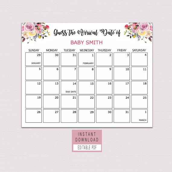 Guess The Birth Date Baby Shower Game: Guess Baby Birthday Calendar Guess The Due Date Game Floral