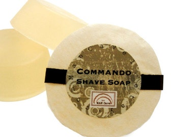 SHAVE Soap - COMMANDO unscented - with Bentonite Clay and Shea Butter - shaving soap refills for shaving mugs too by Man Cave Soapworks
