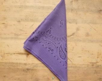 Purple Cotton Bandana - Lavender Paisley Vintage 80s Bandana - Fast Color Lilac Bandanna