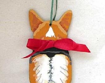Hand-Painted WELSH CORGI Red Headed Tri-Color RearEnd Wood Christmas Ornament Artist Original