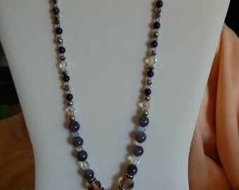 Silver wrapped Amethyst necklace set