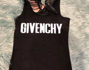 Custom Made Givenchy Text/Any Text/Logo Layering Tank