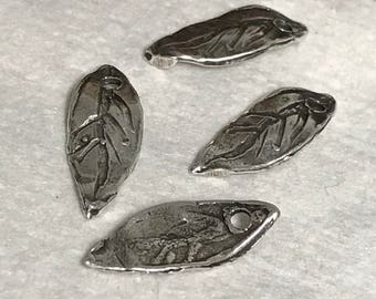 Sterling Silver Leaf Charms - 4 Rustic Leaves Handcrafted Artisan Dangles or Mini Pendants - Oakhill Silver Supply - AC50