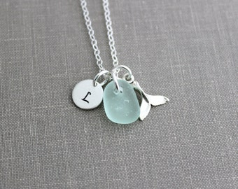 Sterling Silver Tiny Whale tail Necklace with Genuine Sea glass and Personalized Initial charm disc, Beach Jewelry, Eco Friendly Fashion