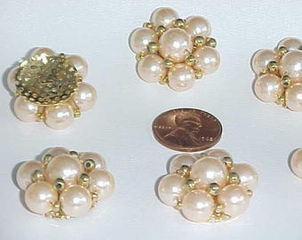 """6 Vintage Japanese Hand Sewn Pearl Gold Beaded 1"""" Sew On Beading Flowers D231"""