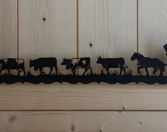 Frieze poya (the alplage mounted) wood cut and painted black