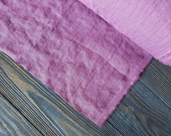 Softened lavender linen fabric by the meter, natural linen lavender fabric, lavender washed stonewashed linen fabric by the yard 7oz 200GSM