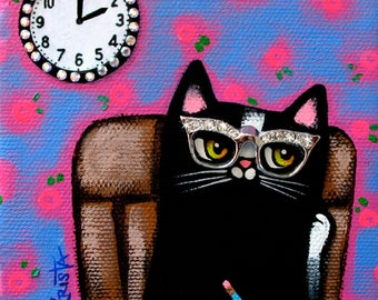 Daydreaming CAT Folk Art PRINT, colorful cat print, whimsical cat print, cat gift by Krista