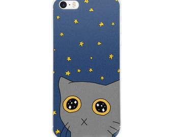 Starry Kitty Case for iPhone 6/6s/7/7s/8/X, Cute Cat, Night Sky Phone Case, Phone Accessory, Phone Case, Cute Phone, Stars Phone case