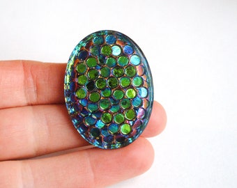 Rare vintage - Peacock green purple blue scales Rare scarab cabochon cameo vintage German glass 1960 40x30mm color changing