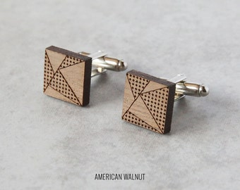 Geometric cufflinks | Wood Cufflinks | 5th anniversary gift | Groomsmen Gift | Gifts for Him | Graduation Gift | Groom Gift | Gifts for Dad