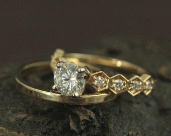 Moissanite Engagement Ring~Diamond Ring~Queen of the Hive~Unique Engagement Ring~Geometric Ring~Honey Comb Ring~14K Gold and Diamond Ring