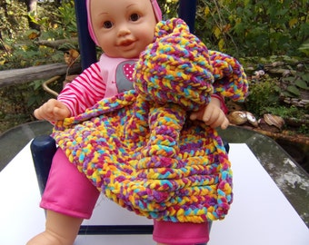 bunny security blanket/snuggle buddy, soft toddler toy, soft toy baby toy, knifty knitter knitted, soft baby yarn color sprinkles