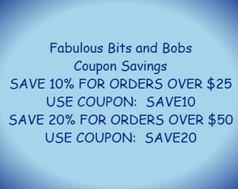 DISCOUNT COUPON CODES For Fabulous Bits and Bobs  (Please do not Purchase this item all Information is in the Description)