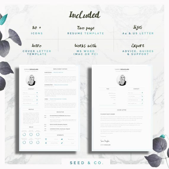 Modern Resume Template Single Page Resume Template Cover