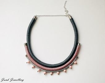 Statement rope necklace / bib necklace / color block / grey / pink / silver / beads / gift for her / handmade