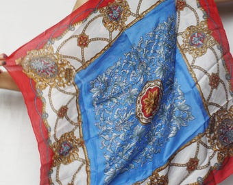 Vintage scarf Head scarf Silk scarf thin scarf Headband scarf Antique Royal crown print chains Bohemian Luxury Neckwear Retro Gold Blue Red