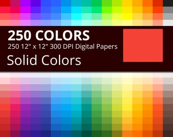 250 Solid Colors Digital Paper Pack, 250 Colors Scrapbook Paper Download, Rainbow Flat Colors Background, Digital Papers for Scrapbooking