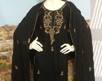 Inky Black And Gold Tunic With Shawl