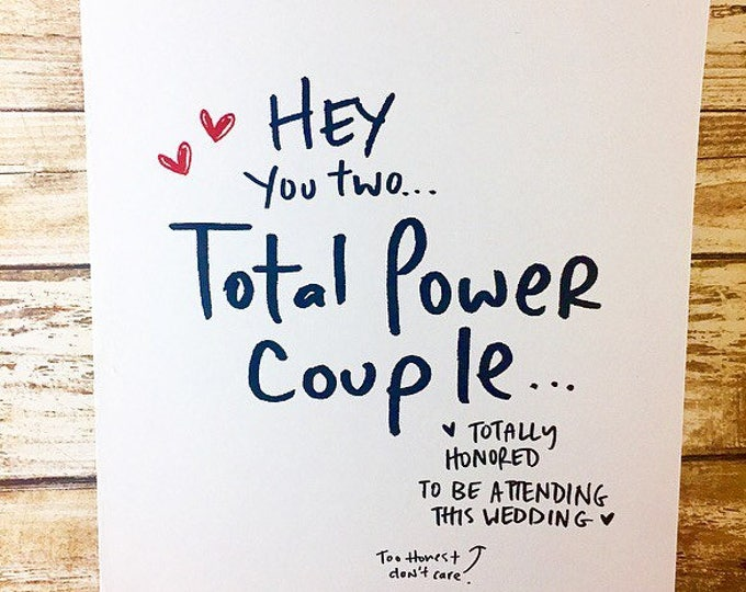 Total Power Couple Wedding Card- power couple, congrats on getting married, funny wedding card, simple wedding card, unique wedding card