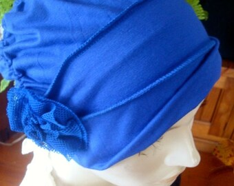womens Chemo Hat  royal blue tencel  ooh lala Hat with  flower Chemo Headwear for women