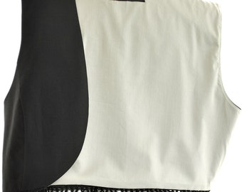 Black Vest Women Multi Dangle Buttons Vest Cotton Fully Lined Handmade