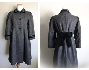 Vintage Rothschild Grey Black Wool Coat Girl's Dress Coat with Black Velvet Bow Victorian Style Coat USA Children's Winter Coat Size 12 RARE
