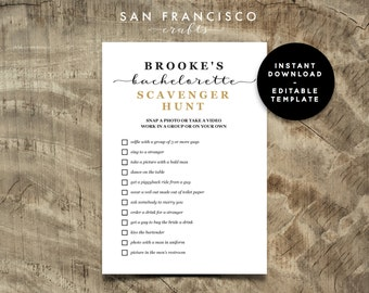 EDITABLE, Custom Bachelorette Scavenger Hunt Game   Bachelorette Party    BROOKE Collection   Printable, Instant Download PDF file, diy