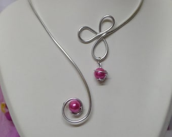 Hot pink beads and silver aluminum wire wedding necklace