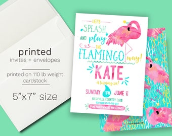 Flamingo Birthday party Invitation PRINTED, Summer Birthday, Pool Party, swimming party, first birthday, let's flamingle, swim party invite