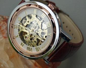 Luxury Mechanical Wrist Watch, Brown Leather Wristband, Rose Gold Watch, Men's Watch, Handwind, Women's Watch, Engravable - Item MWA-194cph