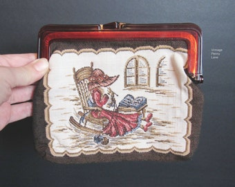 Vintage Needlepoint  Purse, Granny Tapestry Clutch Handbag