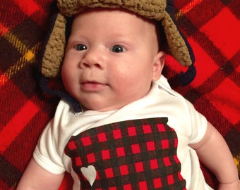 Baby Onesie South Dakota Love - Flannel Screen Printed South Dakota Red Buffalo Check Babies Onesie