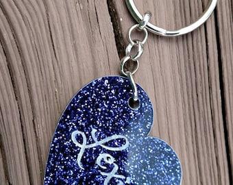 Glitter Heart keychain / Bookbag Tag / Personalized tag / ID Tag / Backpack tag / Keychain / Heart