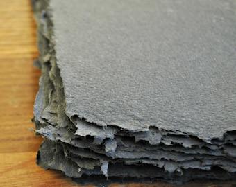 10 sheets dark grey handmade paper, recycled paper, eco friendly paper, handmade paper, homemade paper, scrapbooking paper, acid free,