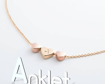 Hand Stamped Unique Triple Hearts 16k Plated Initial Anklet/ Rose Gold, Gold, Silver/ Wedding Christmas bridemaids Gifts