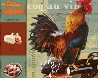 Coq au vin - Digital Download Art - kitchen art - food art - food print - vintage - kitchen wall decor - rooster