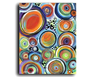 XL Original Painting | Colorful Art | Circle Art | Spheres | Globes | Abstract | Contemporary | Modern | Acrylic Canvas | Large Art