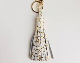 Tassel Keychain- White Gold