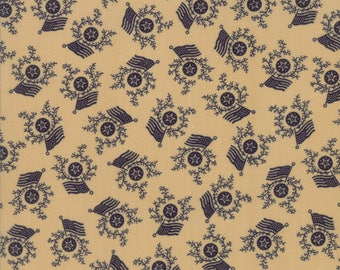 Moda Liberty Gatherings Cream Tan with Navy Blue American Flag Patriotic Fabric 1204-18 BTY