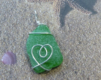 Green New England Sea Glass Pendant with wire Heart