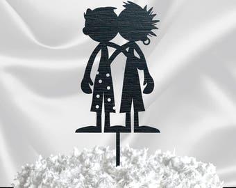 SILHOUETTE CAKE TOPPER for Men // Gold Glitter Wedding Cake Topper Couple - Gay Wedding Cake Topper Mr & Mr - Custom Cake Topper Black
