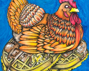 Chicken and Waffles, chicken sitting on waffles art print