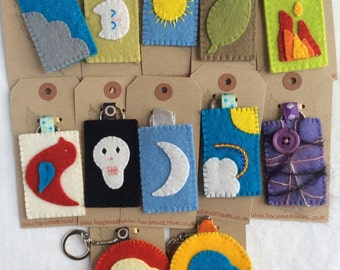 Key ring  - Wool Felt - Rainbows - Clouds - Cat - Leaf - Skull - Fire - Moon