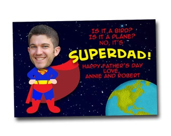 Father's Day Photo Card, superman, superhero printable card, superdad, digital file